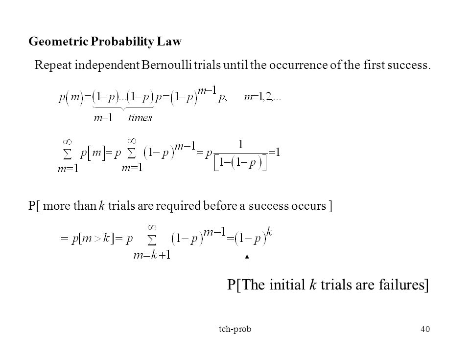 P[The initial k trials are failures]